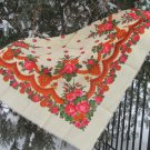 Pure Wool Floral Scarf Vintage White Ukrainian, Russian Floral Scarf, white shawl, white USSR Shawl,