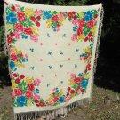 Vintage Wool Floral White Fringe Shawl, Pink flowers Ukrainian White Shawl, Russian Floral Scarf, Fl