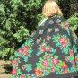 Wool Black Vintage With Fringe Ukrainian Scarf, Russian Floral Scarf, black shawl, black USSR Shawl,