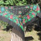 Vintage Japan Black Scarf with Fringes, Japan Floral Scarf , black japan shawl, beautiful black Asia