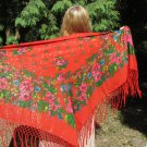 Japan Vintage Red Shawl With Fringes, Asian Floral Red Scarf, Asian style shawl, floral wool red sca