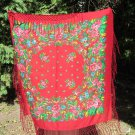 Asian Red Vintage Shawl With Fringes, Japan Floral Red Scarf, japan style shawl, floral wool red sca