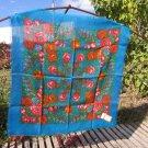 Azerbaijan Vintage Blue Floral Wool Shawl, Azerbaijan Floral Blue Scarf, russian style shawl, floral