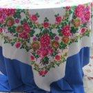 Vintage Ukrainian shawl, Russian Floral Scarf ,floral scarf, white shawl, wedding shawl, bride gift,