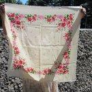 Cute Wool Floral White Scarf, Ukrainian White Shawl, Russian Floral Scarf, Floral White Head Scarf,