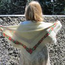 Wool Floral White Vintage Scarf, Ukrainian White Shawl, Russian Floral Scarf, Floral White Head Scar