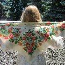 Vintage Floral White Scarf, Ukrainian Wool White Shawl, Russian Floral Scarf, Floral White Head Scar
