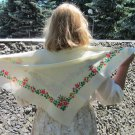 Small Floral Scarf, Vintage Wool Floral White Scarf, Ukrainian White Shawl, Floral White Head Scarf,