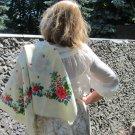 Vintage Wool Ukrainian Floral White Shawl, Ukrainian White Shawl, Russian Floral Scarf, Floral White