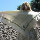 Ukrainian Vintage Wool Floral White Shawl, Russian Floral Scarf, Ukrainian Floral White Head Scarf,