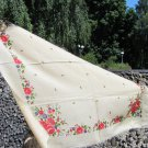 White Ukrainian Vintage Wool Floral Shawl, Russian Floral Scarf, Floral White Head Scarf, Beautiful