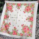 Ukrainian Wool Vintage Floral White Shawl, Russian Floral Scarf, White Floral White Head Scarf, Beau
