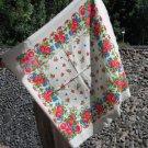 Vintage Russian White Wool Floral Babuska Scarf, Ukrainian White Shawl, Floral Scarf, Floral White H