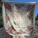 Vintage White Wool Floral Babuska Scarf, Ukrainian White Shawl, Russian Floral Scarf, Floral White H