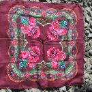 Vintage Floral Vinous Scarf, Ukrainian Wool and Acrylic Vinous Shawl, Russian Floral Scarf, Floral V