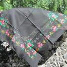 Vintage Floral Black Scarf, Ukrainian Wool and Acrylic Black Shawl, Russian Floral Scarf, Floral Bla