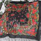 Vintage Wool Black Shawl, Vintage Ukrainian Shawl, Russian Floral Scarf ,russian floral scarf, black
