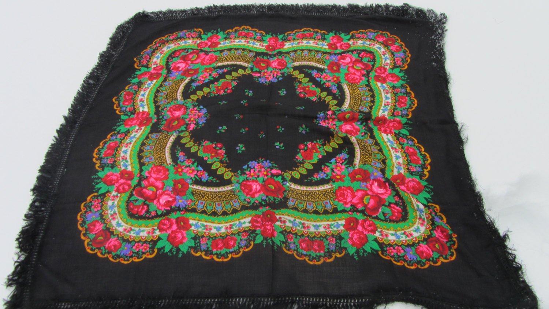 Vintage Wool Black Shawl, Vintage Ukrainian Shawl, Russian Floral Scarf ,russian floral scarf, head