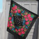 Floral Black Head Scarf, Vintage Black Wool Floral Lovely Scarf, Black Ukrainian Shawl, Russian Flor