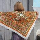 Vintage White Ukrainian Scarf, Russian Floral Scarf, russian floral scarf, head scarf, white shawl,