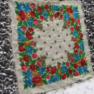 Vintage White Ukrainian shawl, Russian White Floral Scarf , Big russian floral scarf, White head sca