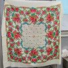 White Ukrainian shawl, Russian White Floral Scarf , Big white russian floral scarf, White head scarf
