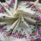 Cotton Vintage white shawl wrap, Floral cotton sheer shawl, White floral Spring shawl, Floral Scarf,