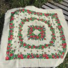 Wool Vintage Floral White Shawl, Red Flowers Ukrainian White Shawl, Russian Floral Scarf, Floral Whi