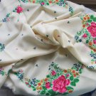 Russian Floral Scarf , White wool head scarf,  Wool russian floral scarf,  Vintage Wool White Shawl,
