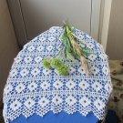 Ukrainian Vintage Crocheted Tablecloth, Handmade White Cotton Lace, Wedding Lace Decor, Square Lace