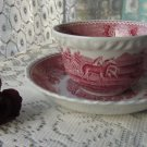 Ceramic England Teacup & Saucer White and Red Ornaments, Calssic England Tea Ceremony, Tea Cup Gift,