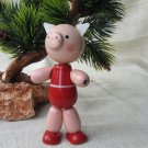 Vintage Wooden Pig Doll, Little Pink Pig Figurine, Pig in red clothes, Soviet Russian Vintage Souven