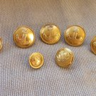 Vintage 7 Buttons Golden Color Metal Anchor Buttons, Vintage Anchor Button Set, Metal 7 military but