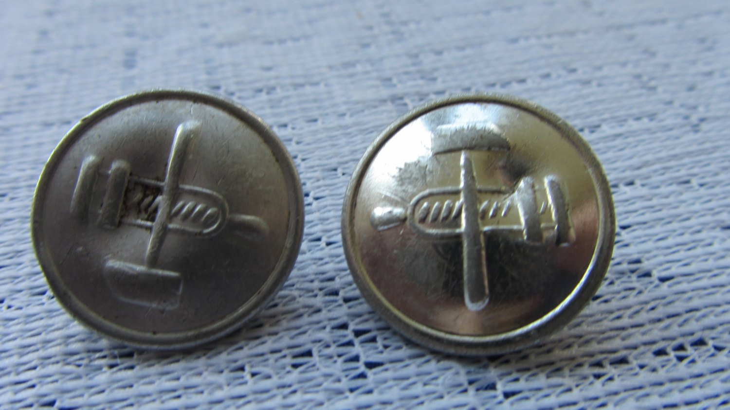 Vintage 6 Buttons White Silver Color Metal Anchor Buttons, Vintage Anchor Button Set, Metal 6 railro