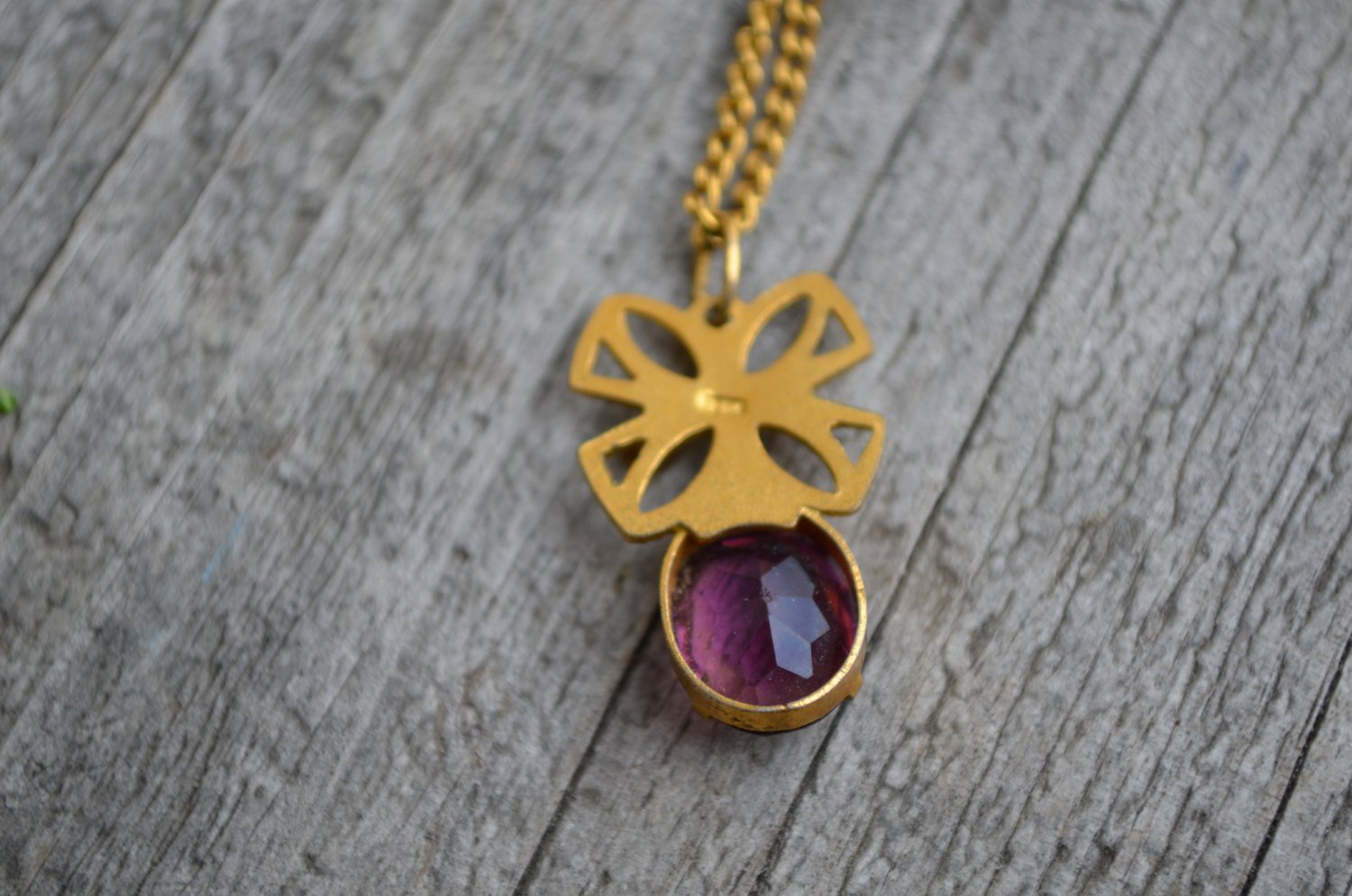 Vintage pendant with purple art glass,1950s , gold tone pendant, filigre pendant with chain, gift fo