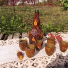 Set of 6 Vintage Wooden Covered Drinking Cups and Bottle, Antique Home Decor, Vintage Wooden Decor,