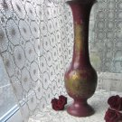 Indian Big Brass Vase with Enamel Design, Vintage Brass Big Floral Vase, Etched Brass Indian Vase, B
