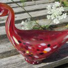 Glass Duck. Hand blown and finish multi color ducks. Clear crystal with red and white accents.