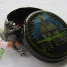 Jewerly box, Hand decorated metal box, accessories box, ukrainain floral ornament box, metal black b
