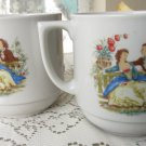 Set of 2 vintage tea cups, Ceramic cups set, romantic ornament, folklore style tea cup, kitchen deco