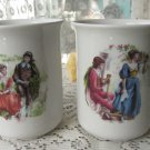 Set of two vintage tea cups, Ceramic mugs set, fairy tale design, folklore style tea cup, kitchen de