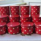 Tin Container, Vintage Polka Dots Decor. Vintage Tin, Red and Wite, Ussr Era polka dot tins
