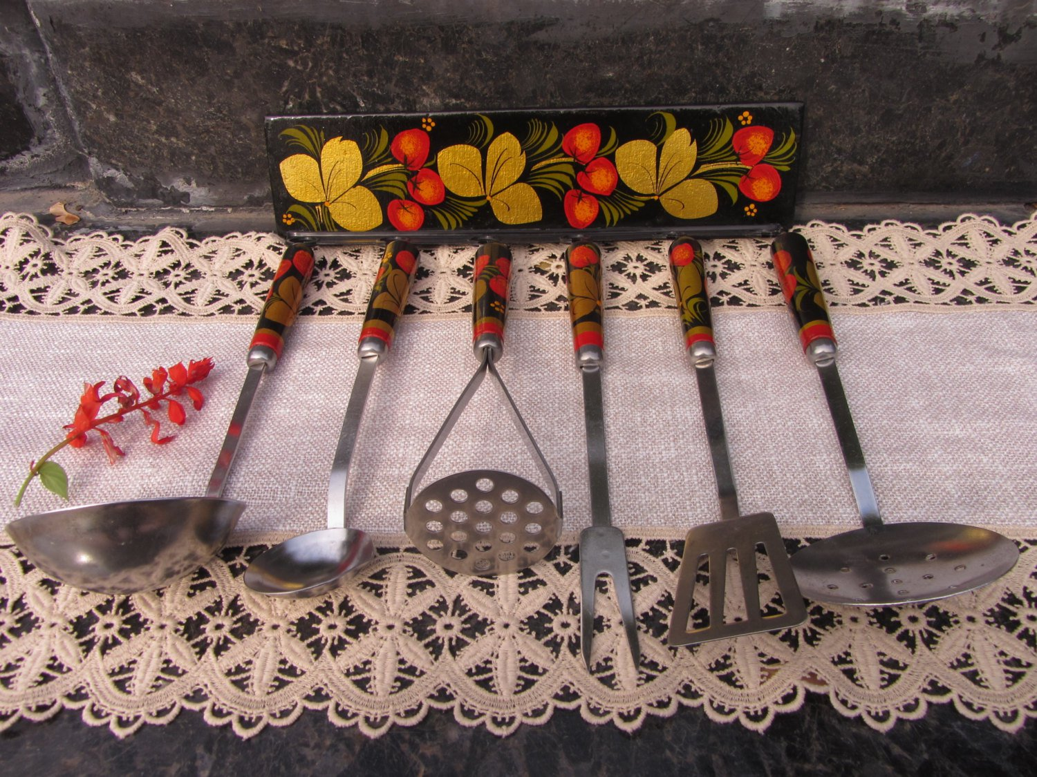 Vintage Khokhloma Kitchen Set of 6, Rustic Kitchen Set, Wooden Hand Painted Handles, Russian Folk Ar