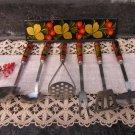 Vintage Khokhloma Kitchen Set of 6, Rustic Kitchen Set, Wooden Hand Painted Handles, Russian Folk Ar