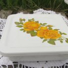 Dish Enamel Square, Vintage Floral Baking Pan, Farmhouse Decor Dish with Lid, Vintage Kitchenware Sq