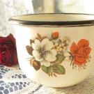 Vintage small wide enamel mug, White small enamelware, Enamel metal camping cup, Rustic wide milk mu