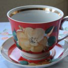 Tea Cup from USSR (Soviet Union), tea ceremony, floral ornament tea cup, gigantic cup, Huge ceramic