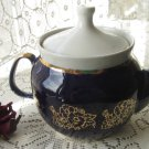 Unique Blue with Gold ornament tea pot, Ceramic tea pot, vintage blue pottery tea pot, blue teapot c