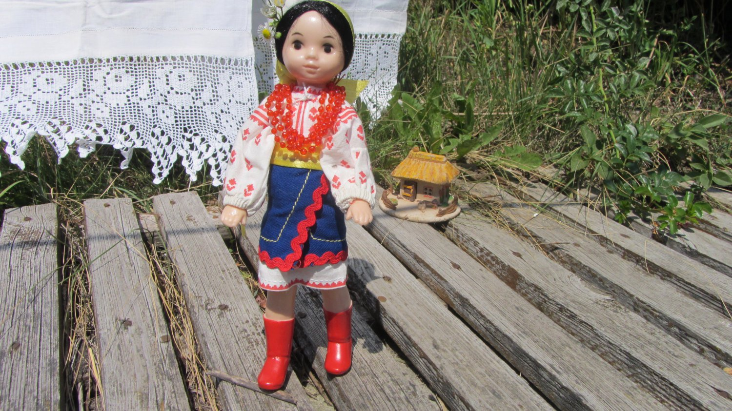 "Traditional Ukrainian 19 century costume for 9.5"""" Doll, Ukrainian Doll In Vyshyvanka costume, exclu"