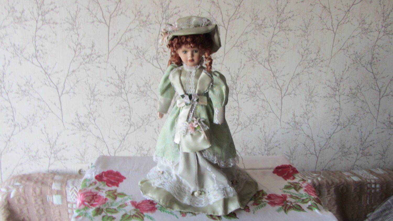 Vintage Porcelain Doll, Red heade, light green dress, 19